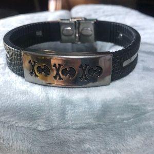 Mens black skull bracelet
